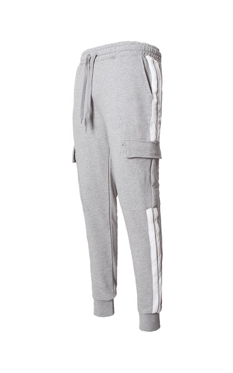 Double Side Stripe Jogger With Pocket In Grey