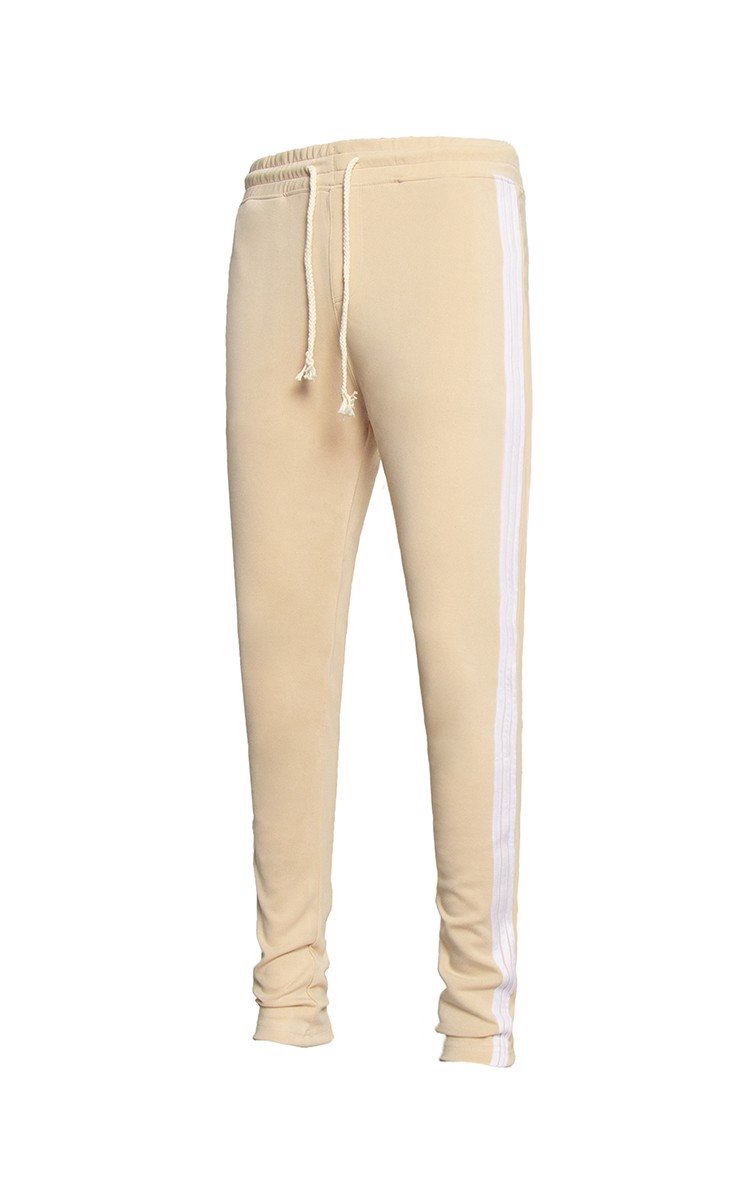 Three Side Stripe Sweatpants In Tan