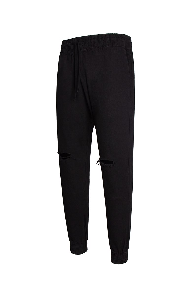 Ripped Knee Jogger Pants In Black