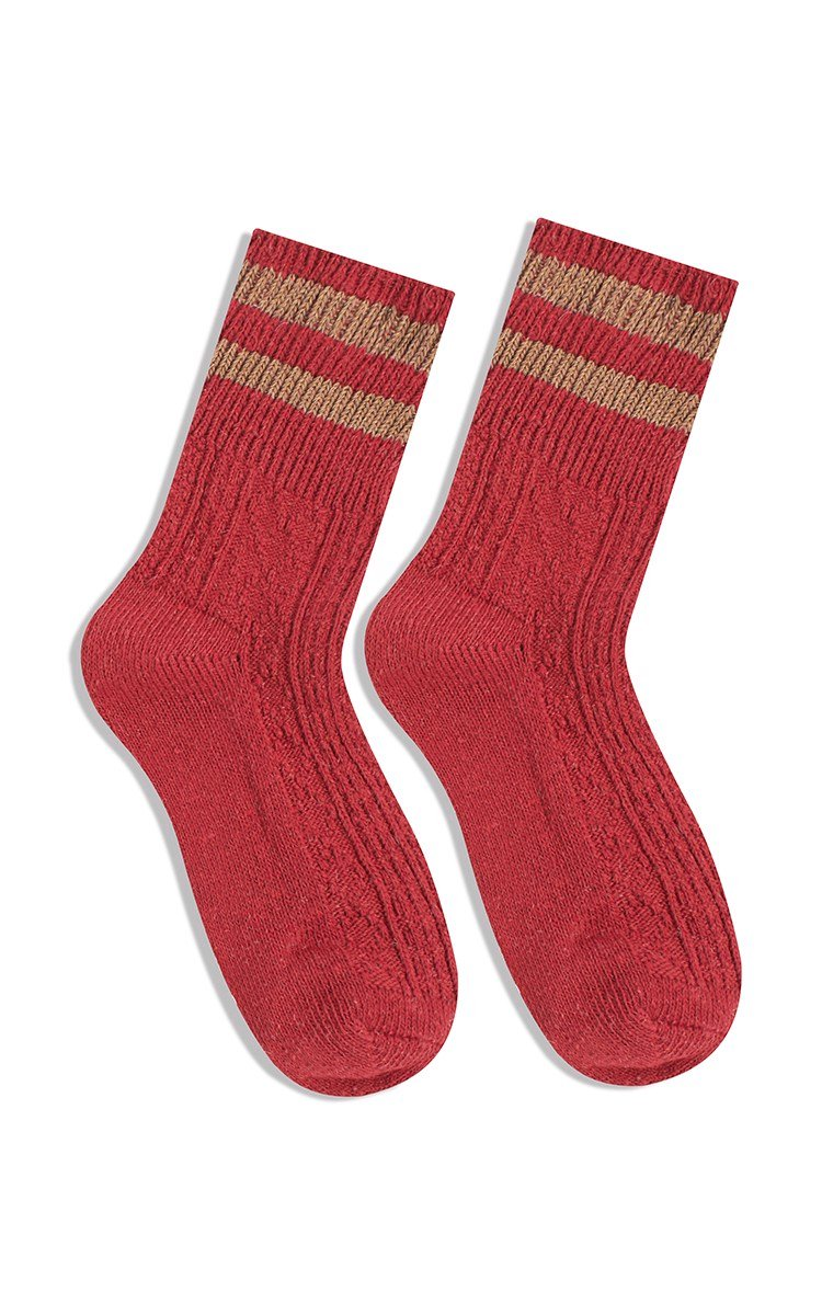 Stripe Shoes Sock In Red