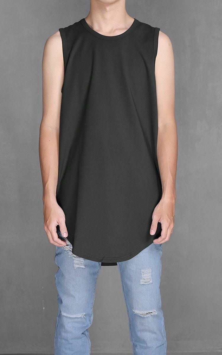 K300 Longline Sleeveless T-shirt In Grey