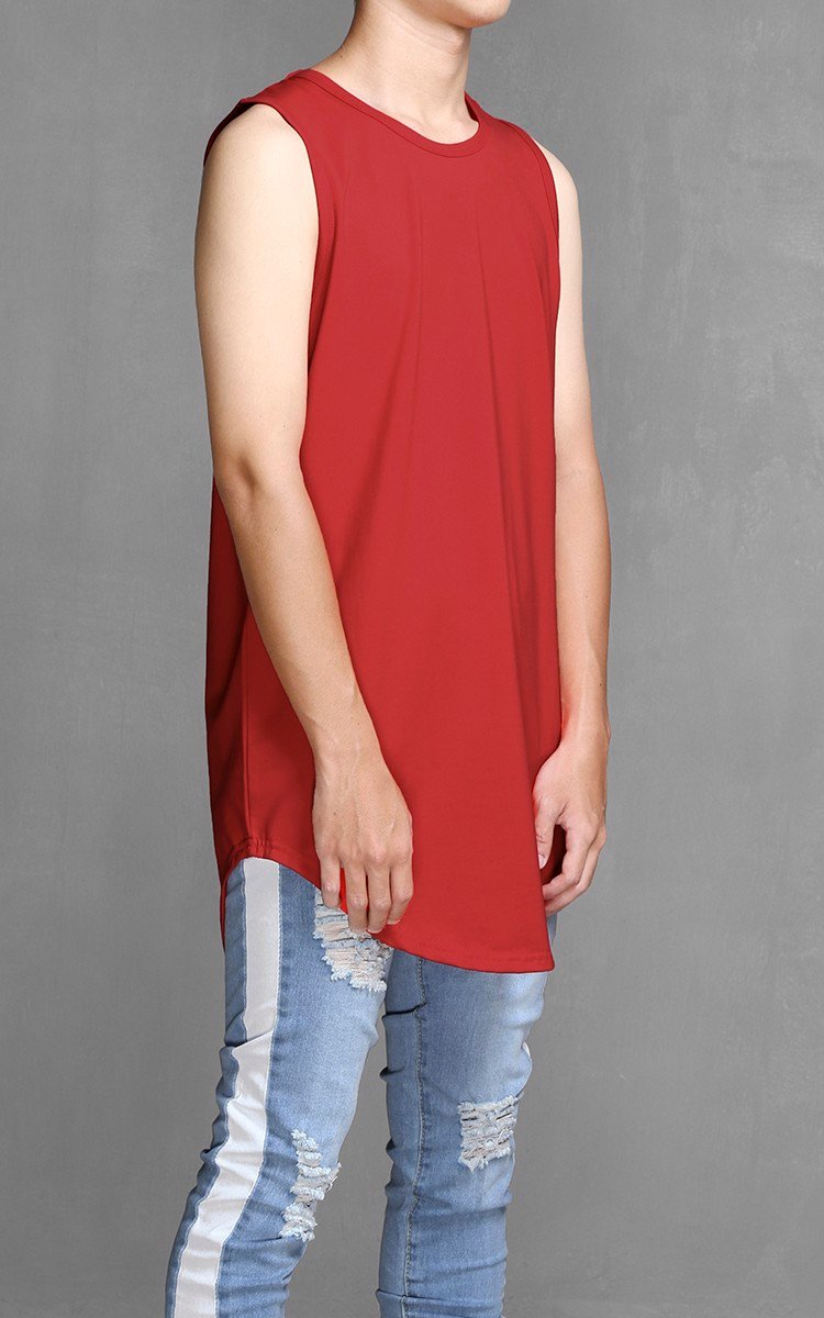 K300 Longline Sleeveless T-shirt In Red