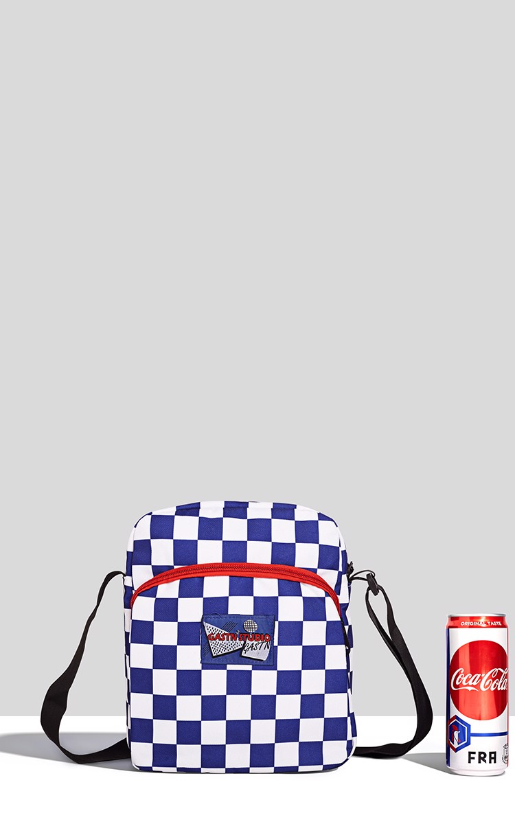 Checkerboard Waist Bag In Blue