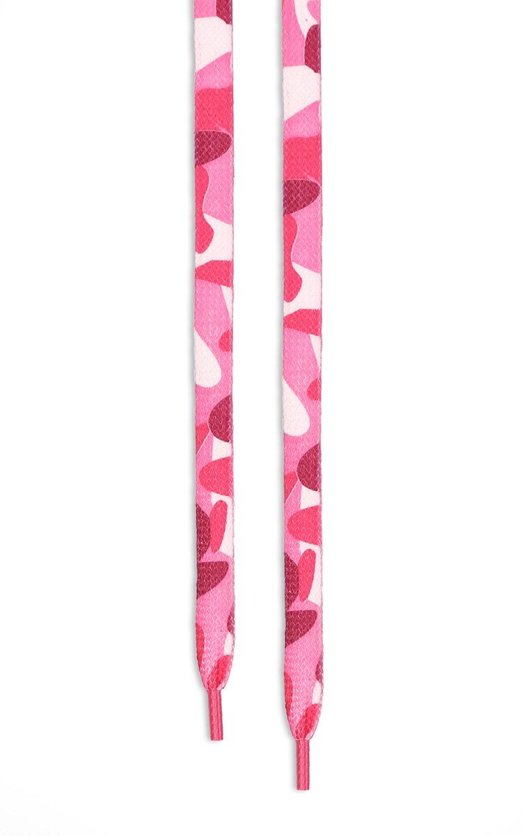 Pink Camo Flat Shoelaces