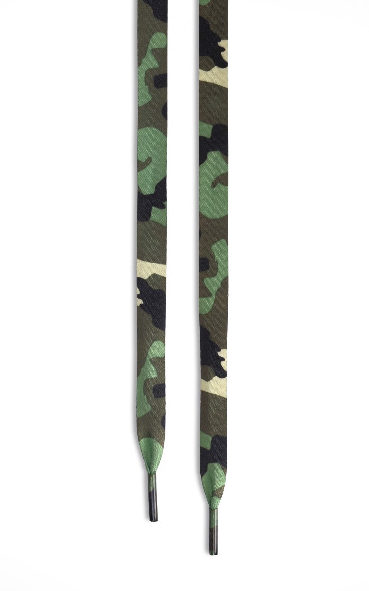 Green Camo Flat Shoelaces