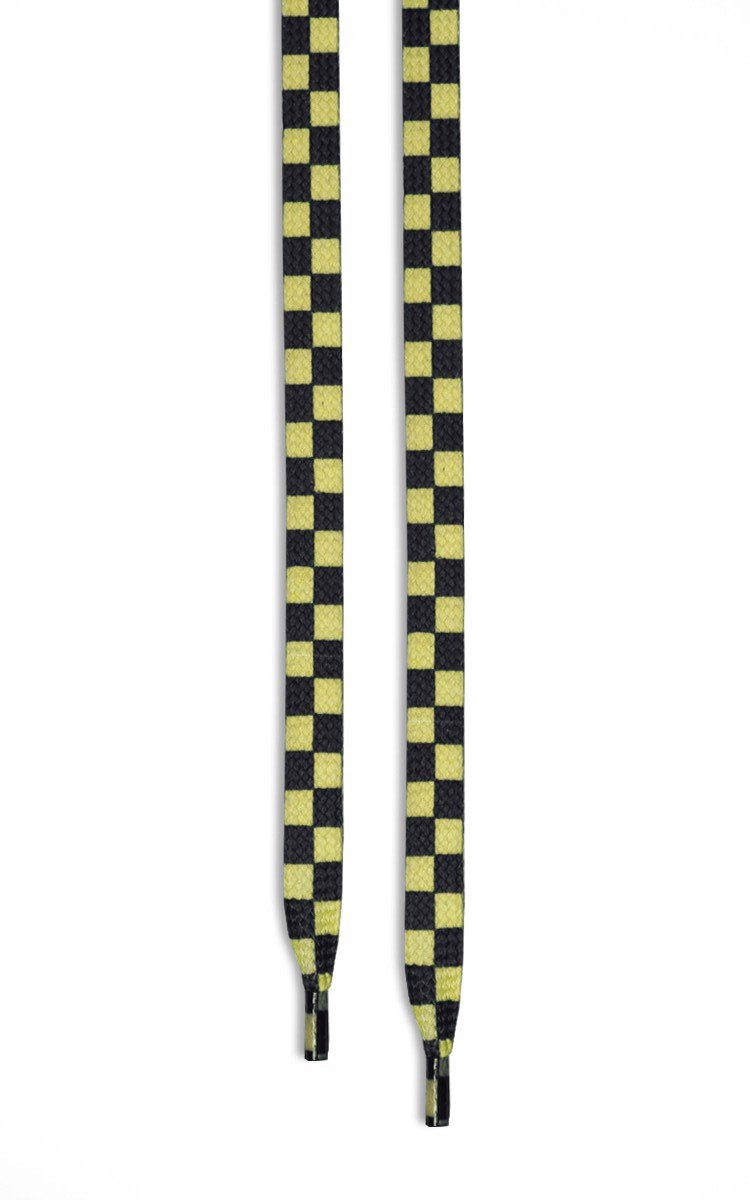 Checkered Flat Shoelaces In Yellow/Black