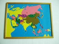 PREMIUM Asia Puzzle Map With BEECHWOOD FRAME