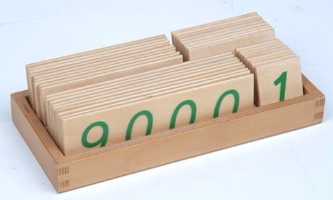 Các thẻ số từ 1 đến 9000 cỡ lớn<br>Large Wooden Number Cards With Box (1-9000)
