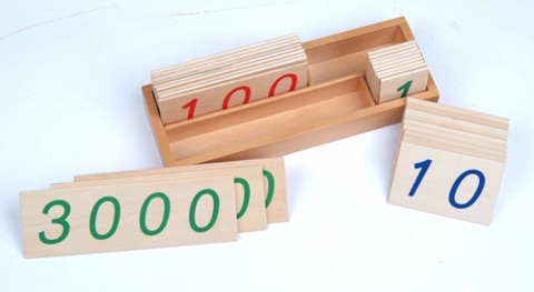 Các thẻ số từ 1 đến 3000 cỡ nhỏ<BR>Small Wooden Number Cards With Box (1-3000)