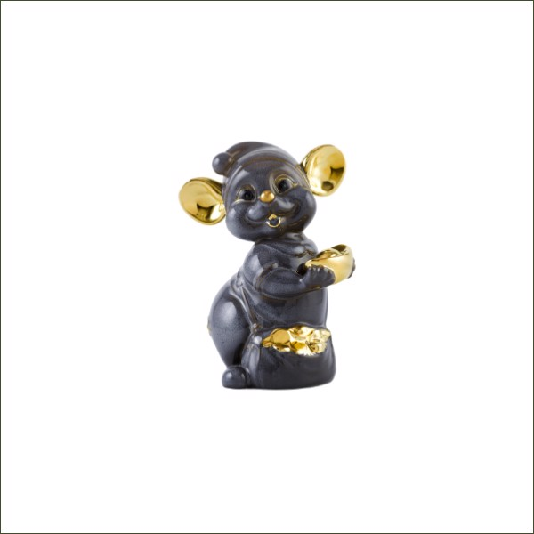 10cm Grey Rat Figurine with Golden Decoration