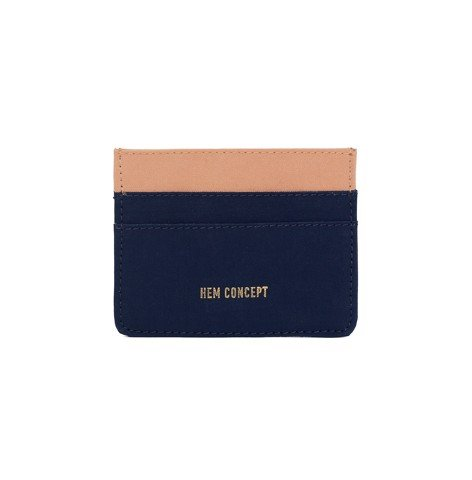SLIM WALLET - NAVY/CARAMEL