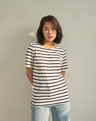 Lifetime Short Sleeve - White Navy Stripe
