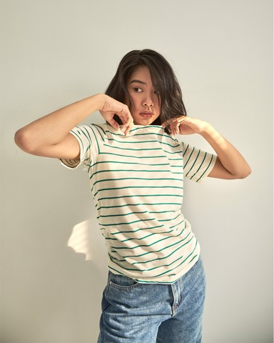 Lifetime Short Sleeve - Cream Green Stripe