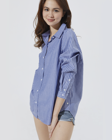 Oversize Pocket Shirt - Double Blue Stripe