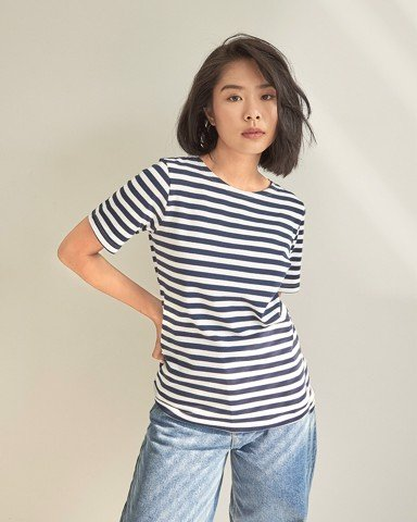 Lifetime Short Sleeve - Classic Navy Stripe