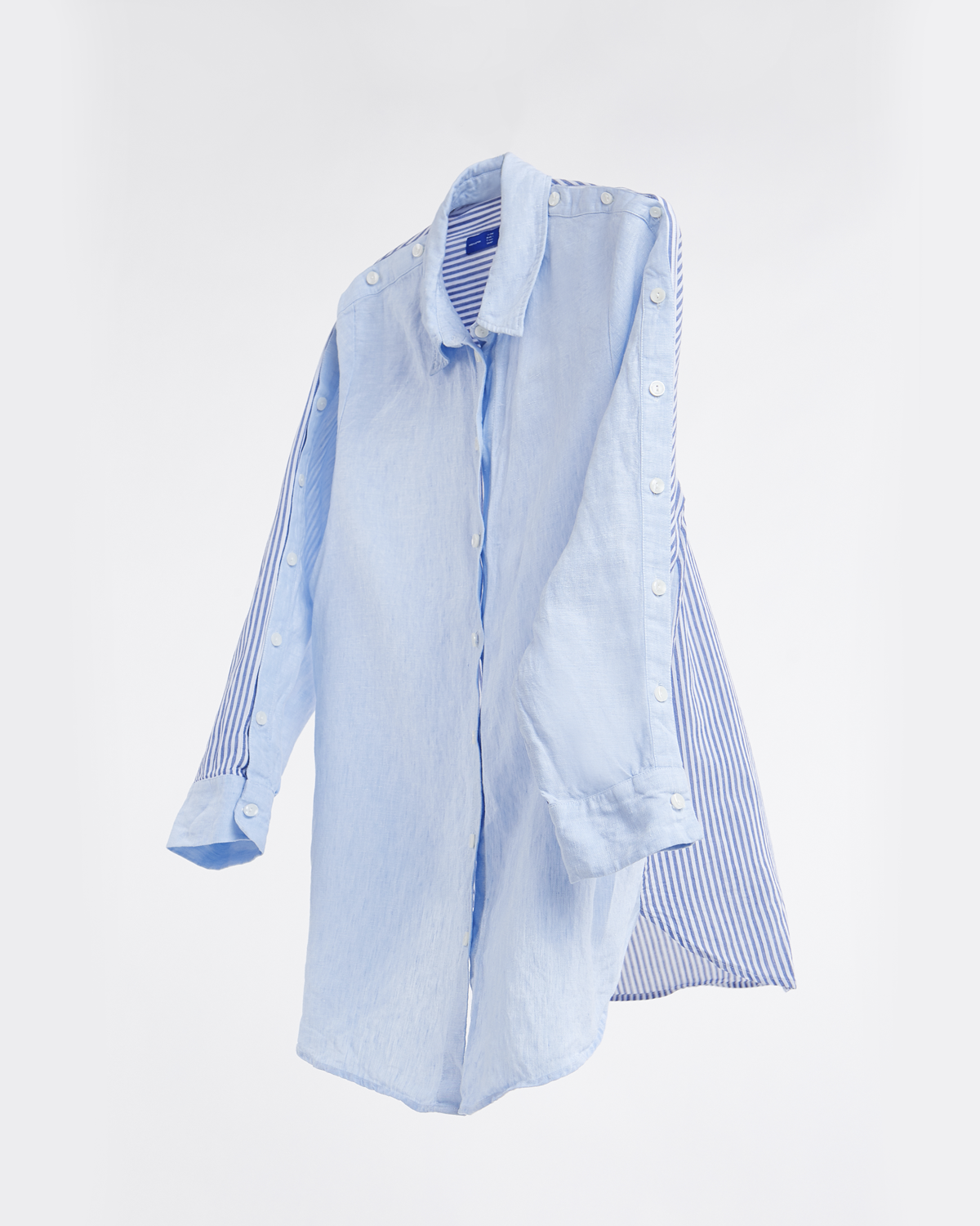 Linen Oversize Button Shirt - Solid n Stripe No.2