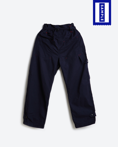 703SA159 - Paper Bag Khaki Pants - Navy