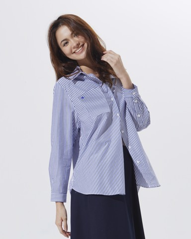 Oversize Pocket Shirt - Modern Blue Stripe