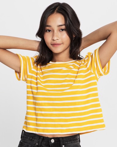 THE CROP T - YELLOW STRIPE