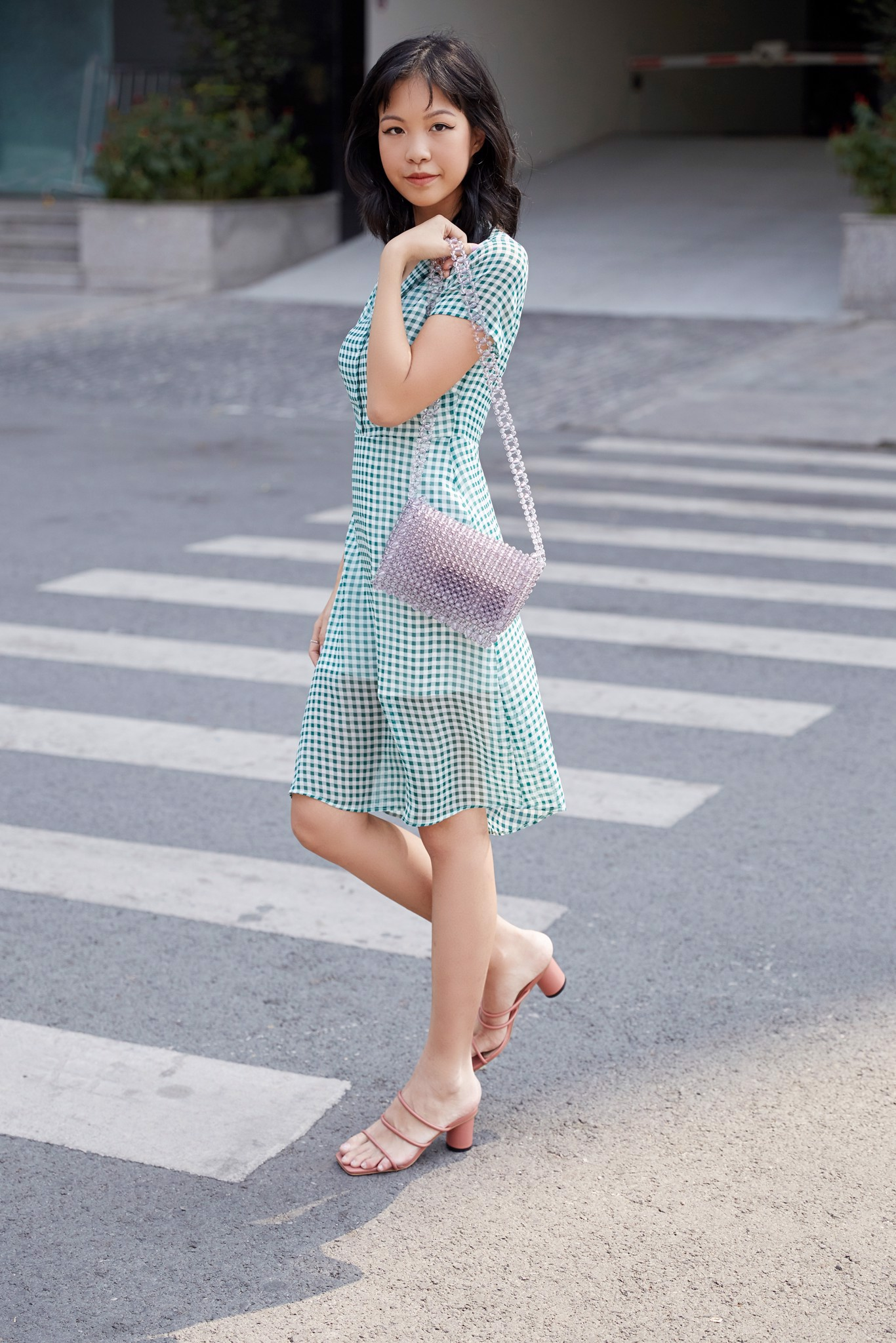 VIRIDIAN GREEN CHECKER DRESS