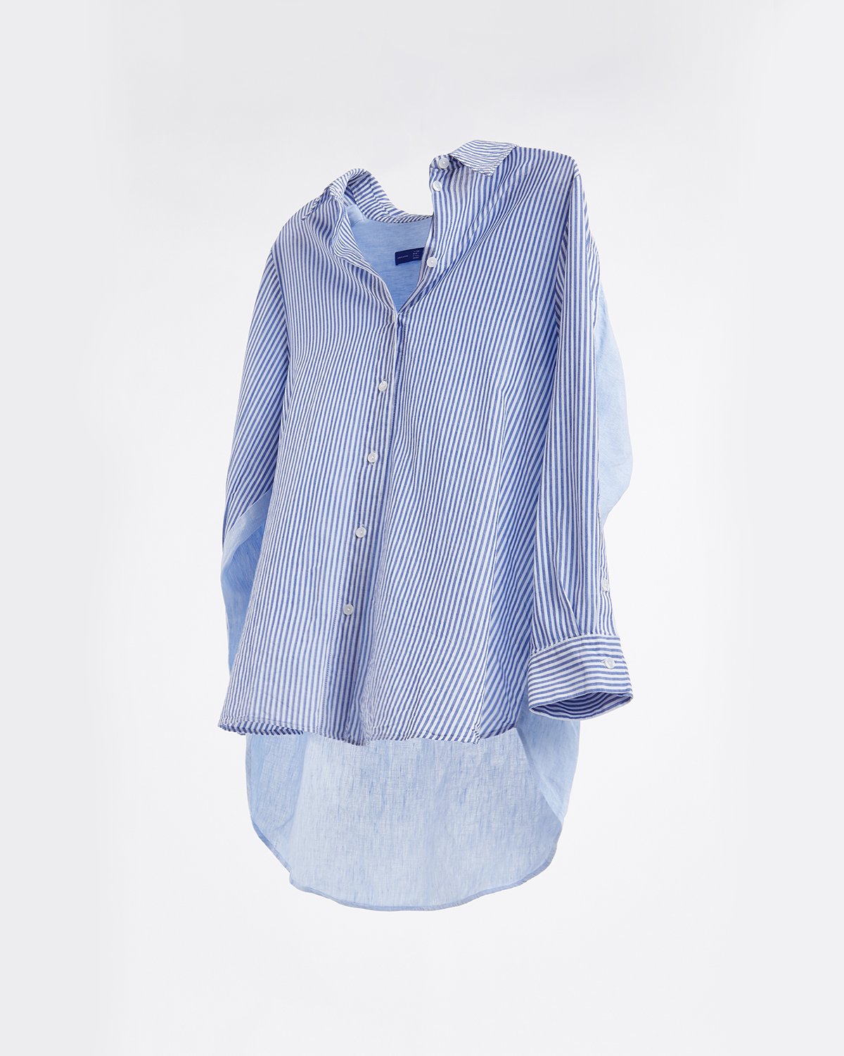Linen Oversize Button Shirt - Stripe n Solid No.1
