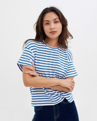 Boxy Blue Striped T