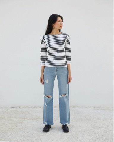 New Classic BlueT - Cream / Navy Stripe