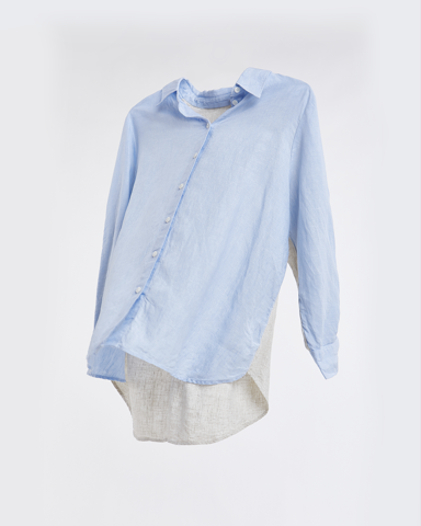 Linen Oversize Button Shirt - Color Blocks