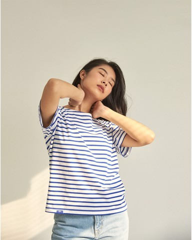 New Classic Short Sleeve BlueT - White / Blue Stripe