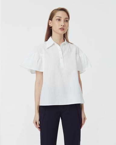 Statement Ruffle Shoulder Shirt
