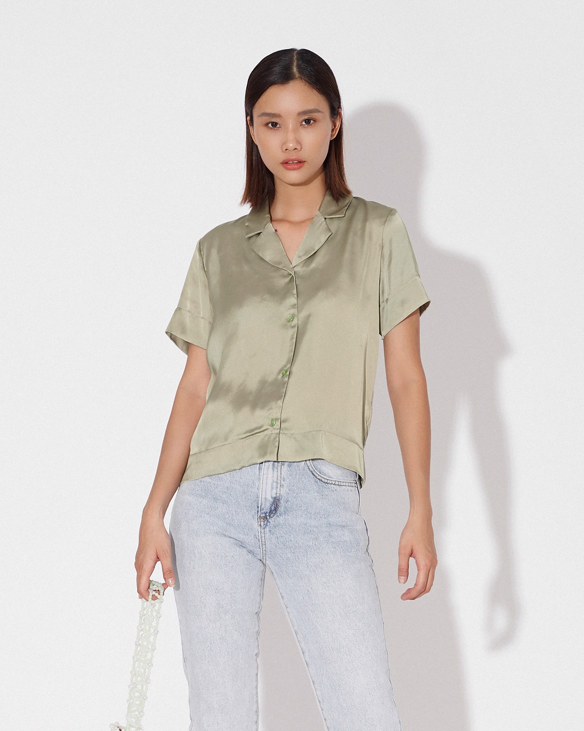 GREY GREEN NOTCH COLLAR SHIRT