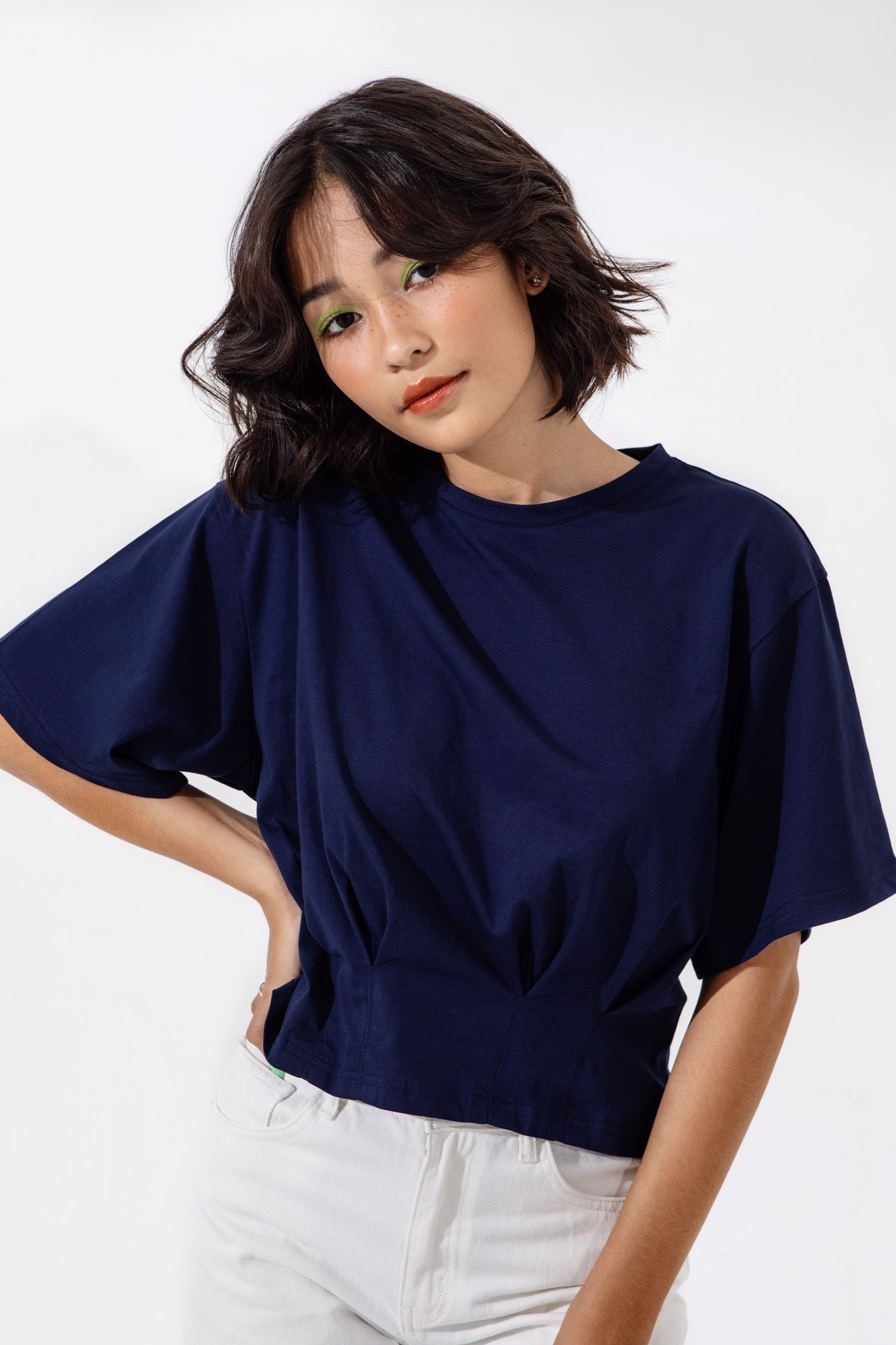 NAVY DARTED JERSEY TOP