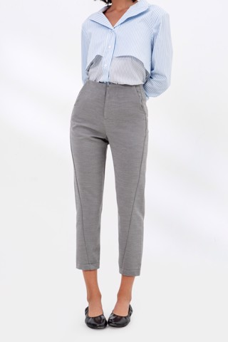 TWIST FRONT PANTS GREY