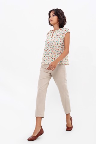 TWIST FRONT PANTS BEIGE