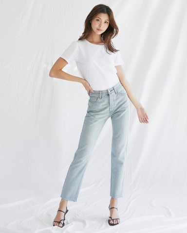 ONCE UPON RAW HEM JEANS - DIM WASH
