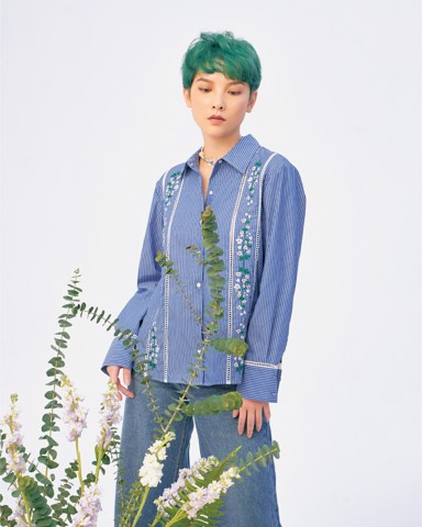 Embroidered Flower Band Stripe Shirt