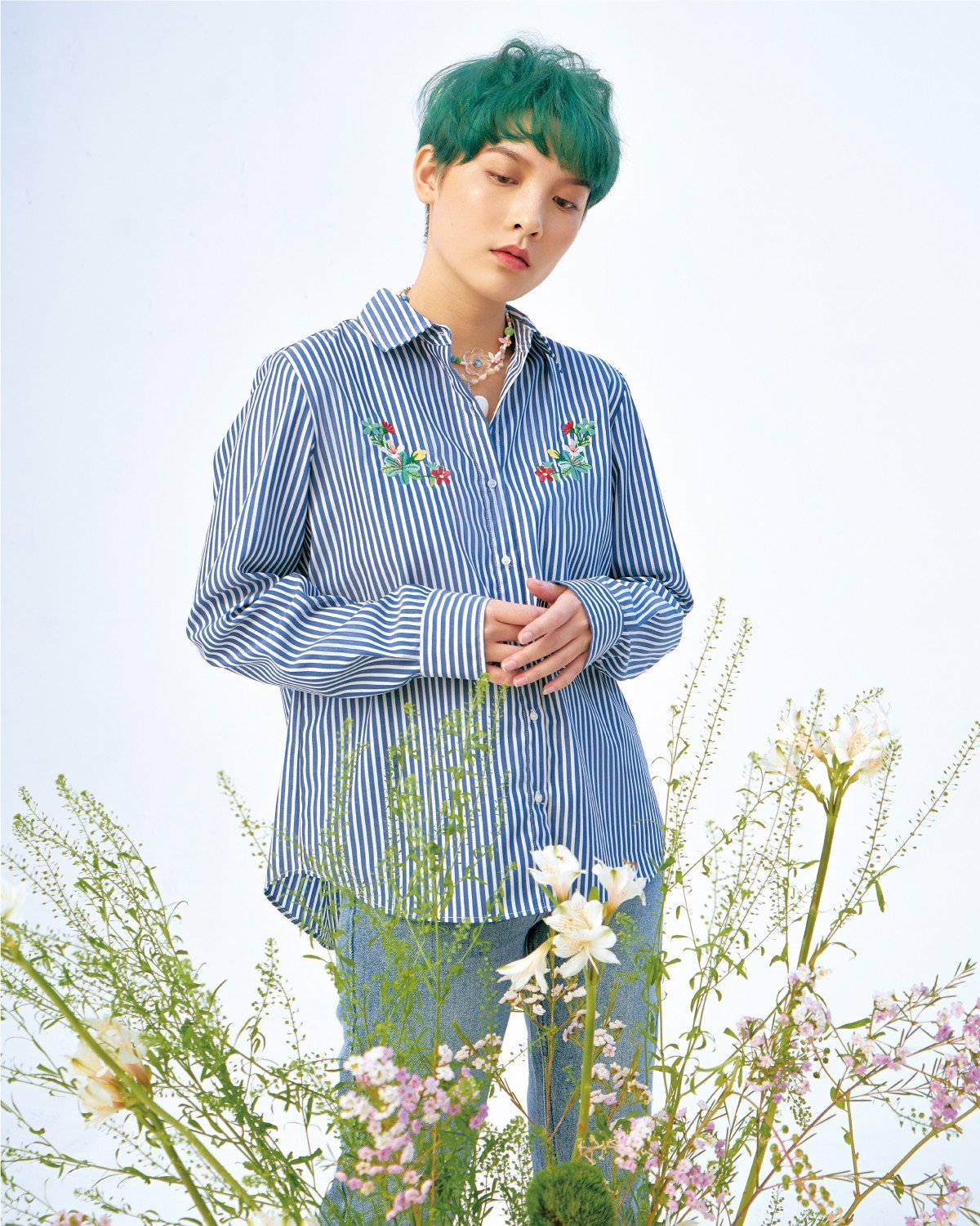 Embroidered Flower Stripe Shirt - Long Sleeve