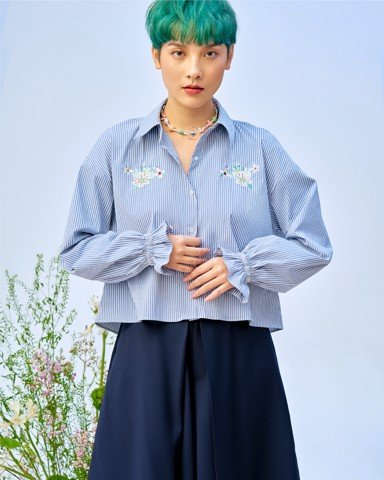 Embroidered Flower Stripe Shirt - Bell Cuff