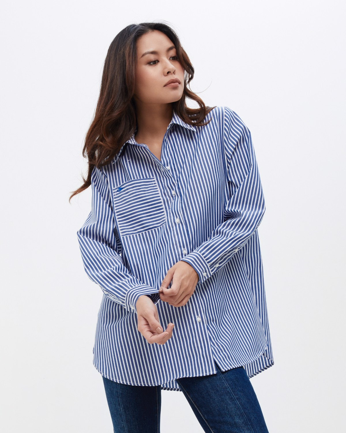 Pocket Oversized Shirt - Bold Stripes