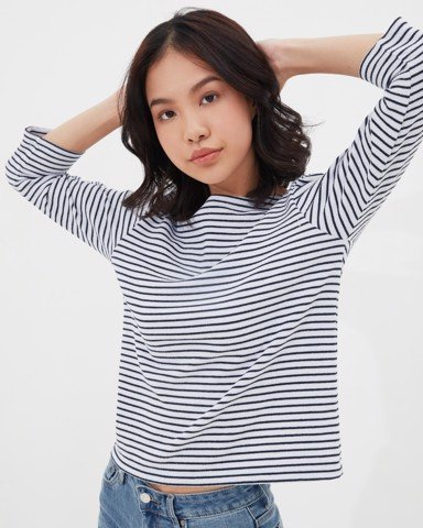 Ever-be Stripe T - White & Navy