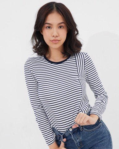 Mixed Navy Stripe T