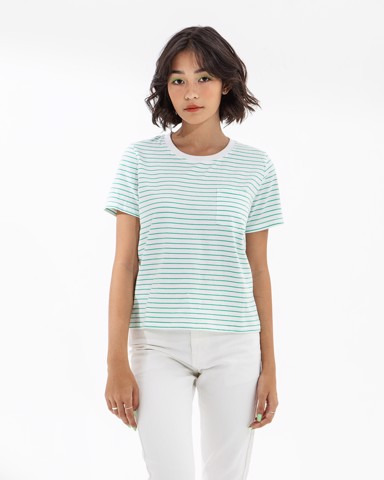 POCKET T - GREEN STRIPE