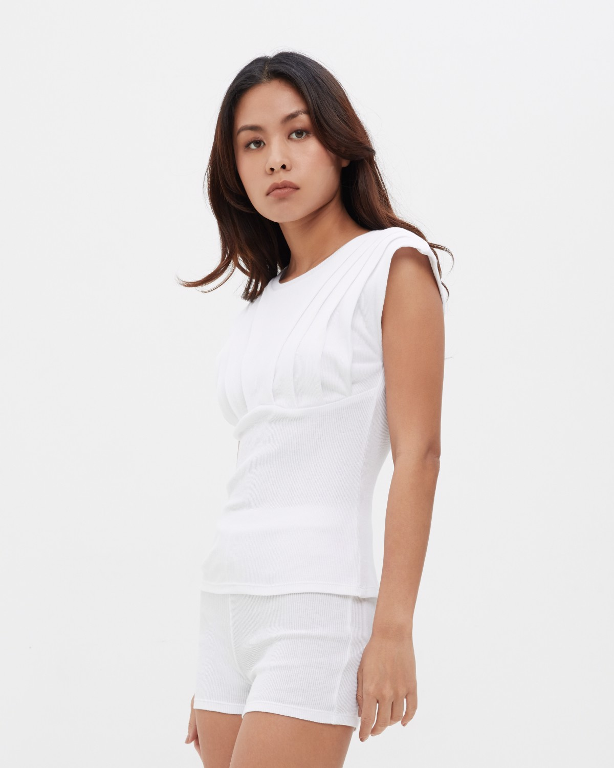 Pleated Rib Cotton Top