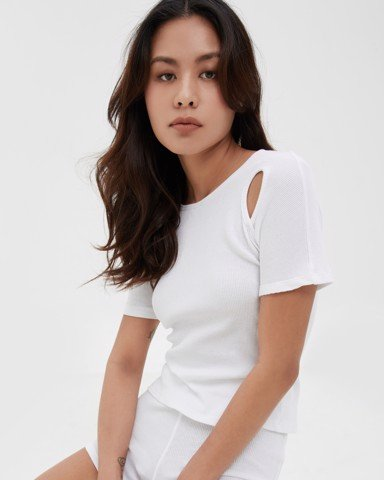 Shoulder - Cutout Rib Cotton Top