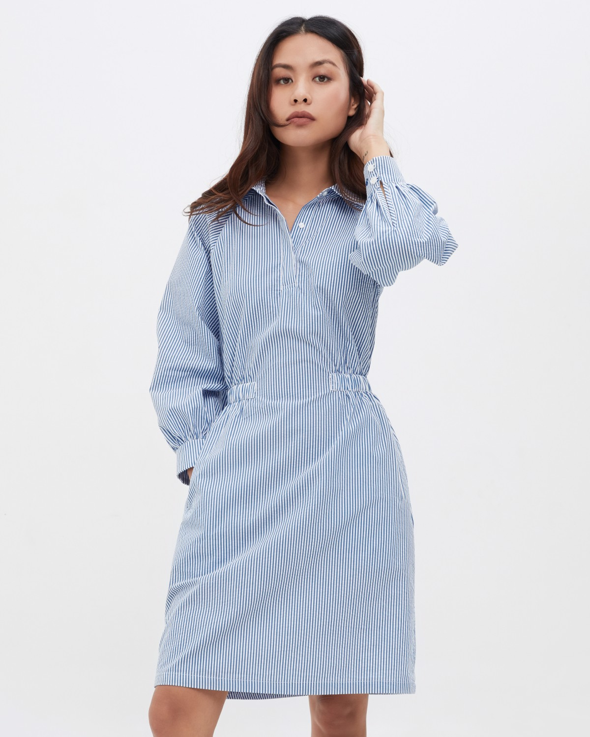Puff Sleeve Dress - Pretty Blue Stripe