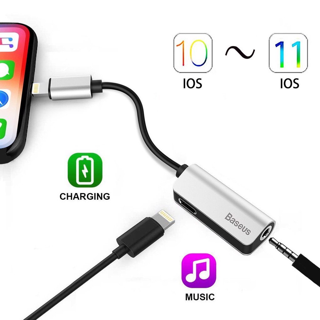 Jack chia Baseus Lightning ra Audio 3.5mm+Sạc Lighting