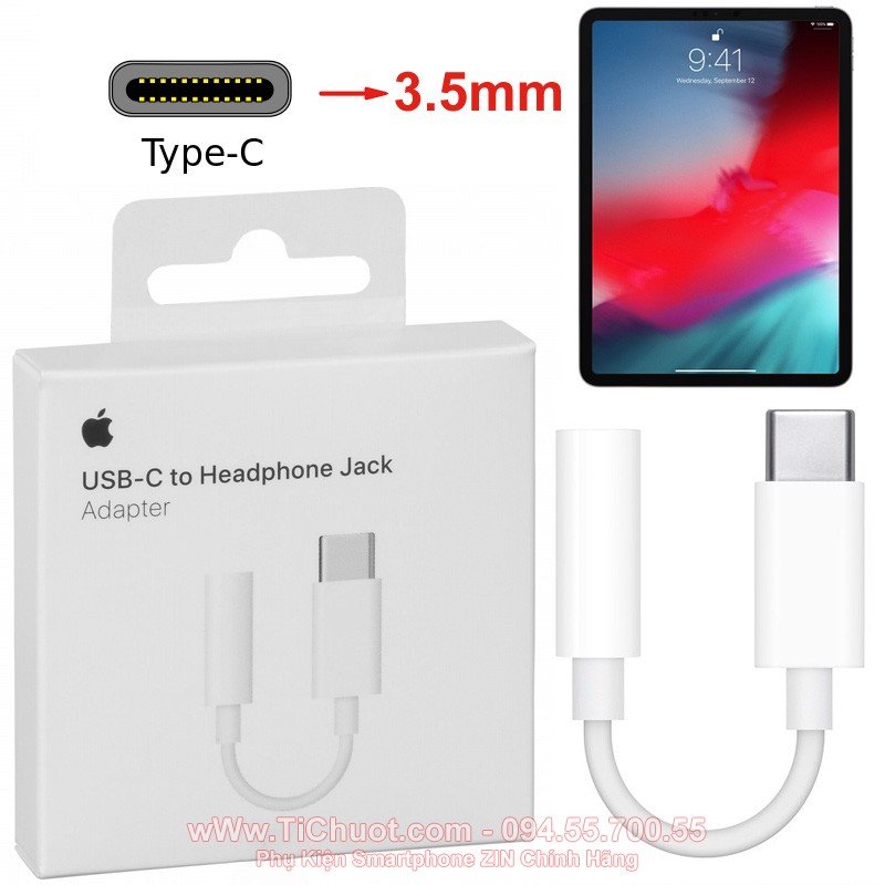 Jack chuyển Tai Nghe Type-C ra cổng 3.5mm cho iPad Pro 2018- Apple USB-C to 3.5mm Headphone