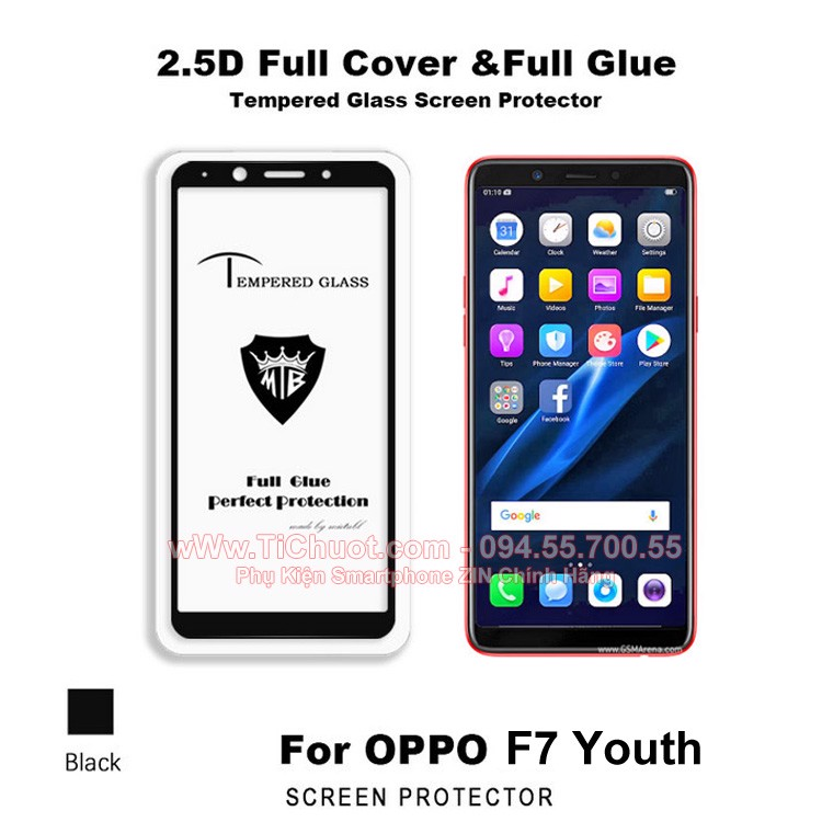 Kính CL OPPO F7 Youth FULL Màn,FULL KEO Silicon