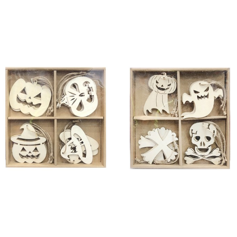 Hanging Plaques 12Pk In Wooden Box - Assorted