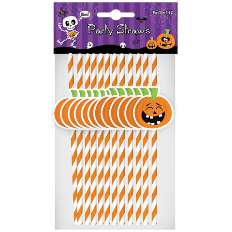 Pumpkin - Party Straws 12 Pk
